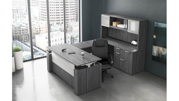 U Shaped Desks Office Source Adjustable Height U Shaped Desk with Hutch