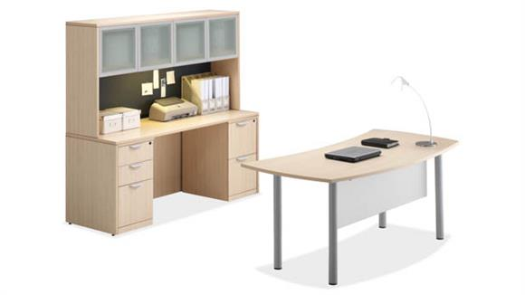 Workstations & Cubicles Office Source Desk with Credenza & Hutch