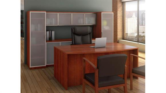 Workstations & Cubicles Office Source Bow Front Desk with Storage