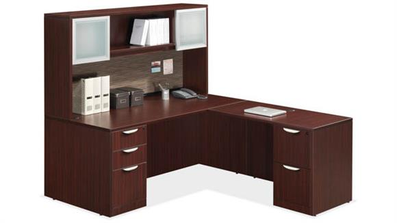 "L Shaped Desks Office Source 71"" x 83"" L Shaped Desk with Hutch"