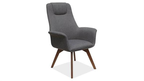 Side & Guest Chairs Office Source High Back Guest Chair with Wood Leg Base