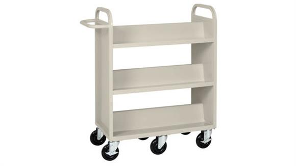 Book & Library Carts Office Source Furniture Double Sided Booktruck with Six Sloped Shelves