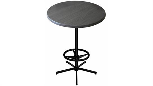 "Pub & Bistro Tables Office Source Furniture 42"" Height, 30"" Round Indoor/Outdoor Table with X Base and Foot Ring"