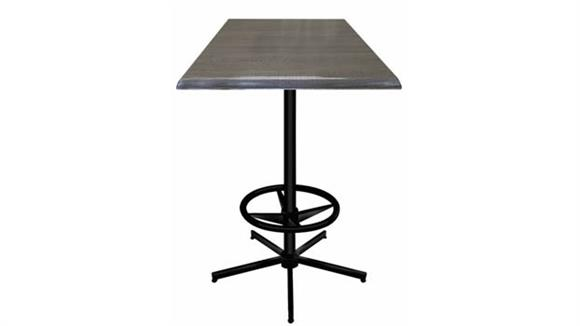"Pub & Bistro Tables Office Source Furniture 42"" Height, 30"" x 30"" Square Indoor/Outdoor Table with X Base and Foot Ring"