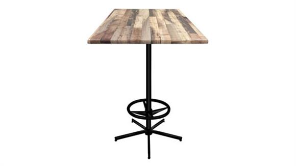 "Pub & Bistro Tables Office Source Furniture 42"" Height, 36"" x 36"" Square Indoor/Outdoor Table with X Base and Foot Ring"