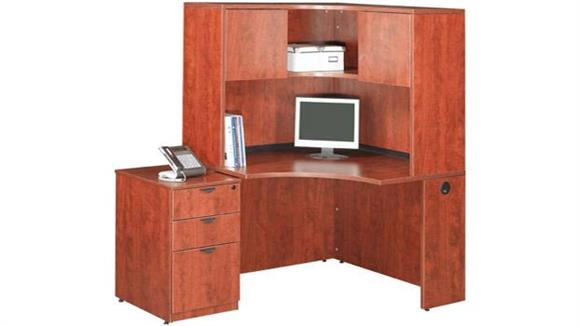 "Corner Desks Office Source Furniture 42"" Corner Desk with Hutch"