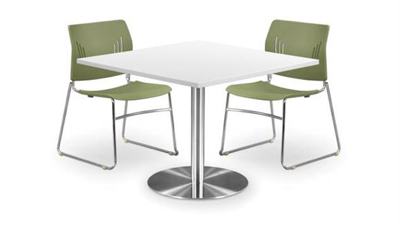 """Cafeteria Tables Office Source Furniture 42"""" Square Cafeteria Table with Brushed Aluminum Base"""