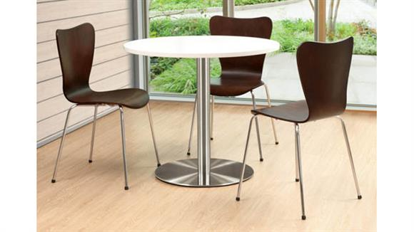 "Cafeteria Tables Office Source Furniture 36"" Round Cafeteria Table with Brushed Aluminum Base"