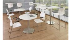 """Cafeteria Tables Office Source Furniture 36"""" Square Cafe Height Table with Brushed Aluminum Base"""