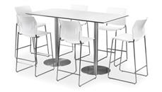 """Cafeteria Tables Office Source Furniture 30"""" x 60"""" Rectangular Cafe Height Table with Brushed Aluminum Base"""