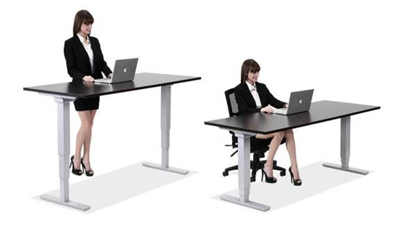 "Adjustable Height Desks & Tables Office Source Furniture 48"" x 24"" Electric Adjustable Height Table"