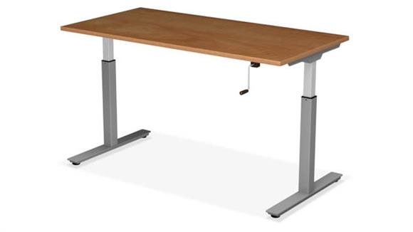 "Adjustable Height Desks & Tables Office Source Furniture 48"" x 24"" Adjustable Height Table with Crank Lift Base"