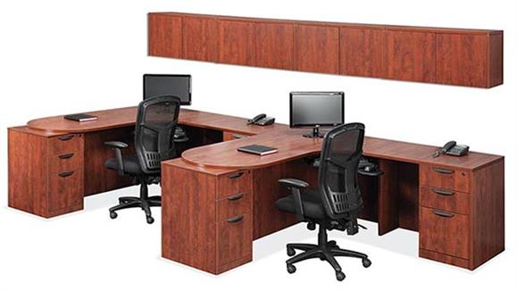 Workstations & Cubicles Office Source Furniture Double Workstation with Wall Storage