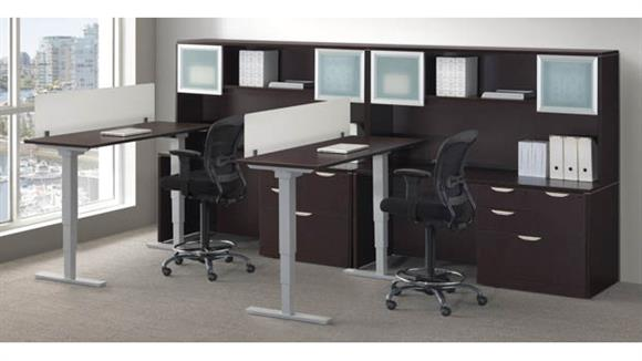 Workstations & Cubicles Office Source Furniture 2 Person Workstation with Adjustable Height Desks