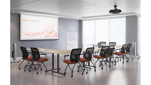 "Training Tables Office Source Furniture 60""W Training Tables (5) and Mobile White Board"