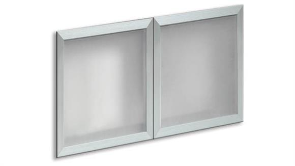 "Hutches Office Source Furniture Silver Framed Glass Doors for 66"" Hutch (Set of 2)"