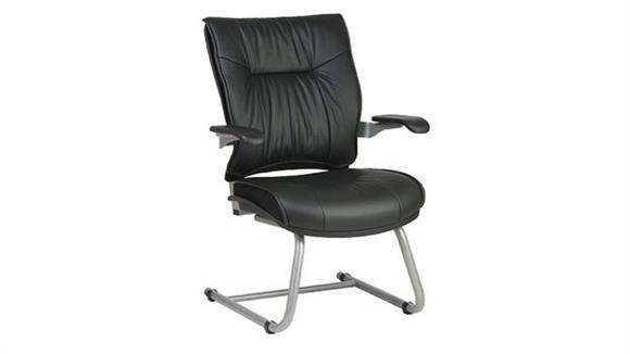 Side & Guest Chairs Office Star Deluxe Leather Visitors Chair