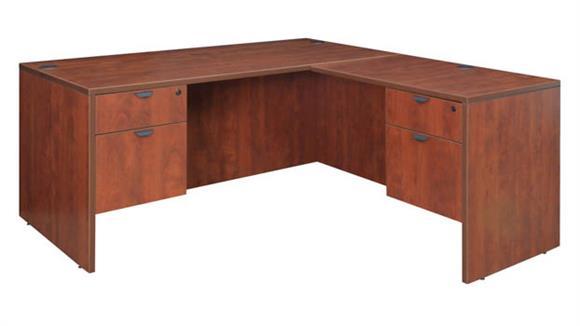 """L Shaped Desks Regency Furniture 66"""" Double Pedestal L-Desk with 35"""" Return"""