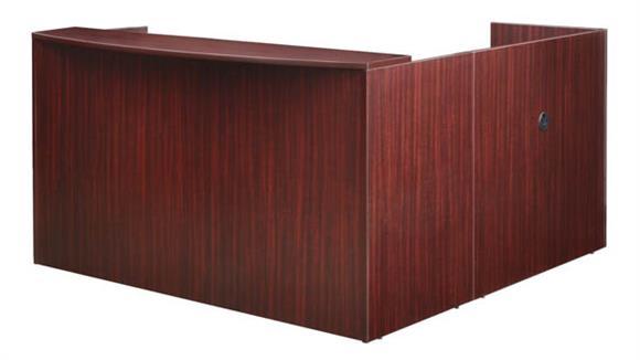 Reception Desks Regency Furniture Double Pedestal L-Shaped Reception Desk