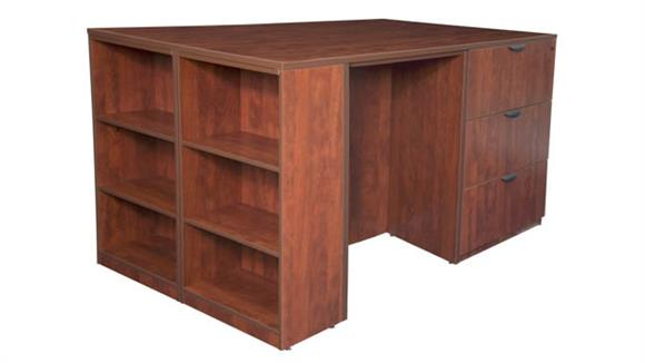 File Cabinets Lateral Regency Furniture Stand Up 2 Lateral File/ 2 Desk Quad with Bookcase End