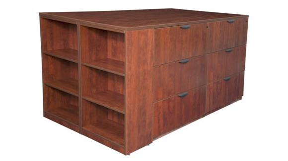 File Cabinets Lateral Regency Furniture Stand Up 2 Lateral File/ Storage Cabinet/ Desk Quad with Bookcase End
