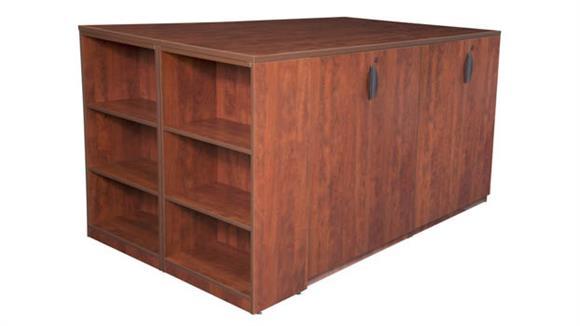 Standing Height Desks Regency Furniture Stand Up 2 Storage Cabinet/ 2 Desk Quad with Bookcase End