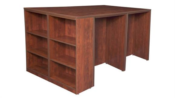 Standing Height Desks Regency Furniture Stand Up 2 Desk/ Storage Cabinet/ Lateral File Quad with Bookcase End