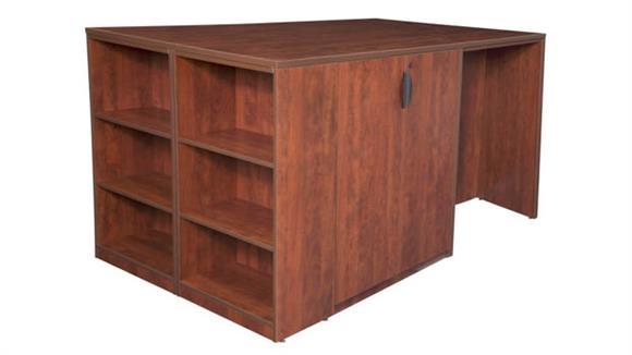 Standing Height Desks Regency Furniture Stand Up Storage Cabinet/ 3 Desk Quad with Bookcase End