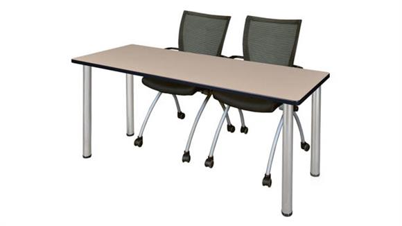 "Training Tables Regency Furniture 60"" x 24"" Training Table- Beige/ Chrome & 2 Apprentice Chairs- Black"