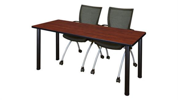 "Training Tables Regency Furniture 60"" x 24"" Training Table- Cherry/ Black & 2 Apprentice Chairs- Black"