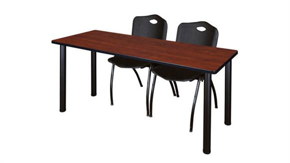 "Training Tables Regency Furniture 60"" x 24"" Training Table- Cherry/ Black & 2"