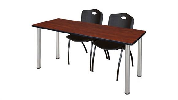 "Training Tables Regency Furniture 60"" x 24"" Training Table- Cherry/ Chrome & 2"