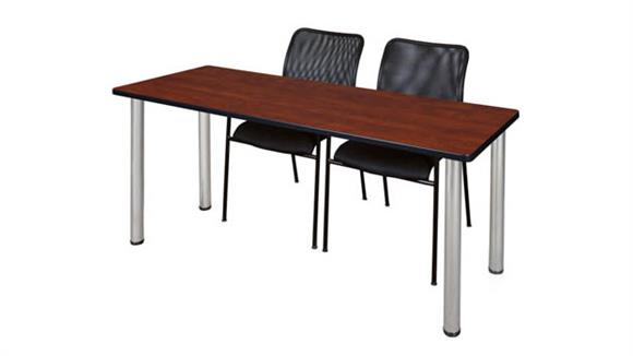 """Training Tables Regency Furniture 60"""" x 24"""" Training Table- Cherry/ Chrome & 2 Mario Stack Chairs- Black"""