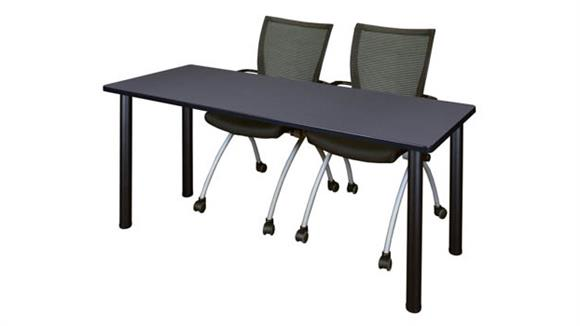 "Training Tables Regency Furniture 60"" x 24"" Training Table- Gray/ Black & 2 Apprentice Chairs- Black"