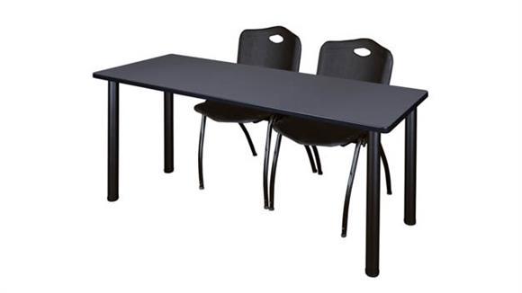 "Training Tables Regency Furniture 60"" x 24"" Training Table- Gray/ Black & 2"
