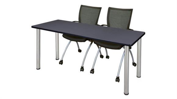 "Training Tables Regency Furniture 60"" x 24"" Training Table- Gray/ Chrome & 2 Apprentice Chairs- Black"
