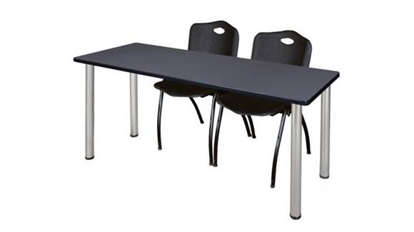 "Training Tables Regency Furniture 60"" x 24"" Training Table- Gray/ Chrome & 2"