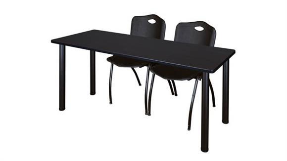 "Training Tables Regency Furniture 60"" x 24"" Training Table- Mocha Walnut/ Black & 2"
