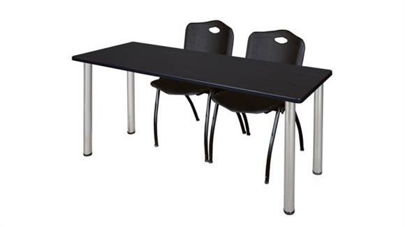 "Training Tables Regency Furniture 60"" x 24"" Training Table- Mocha Walnut/ Chrome & 2"