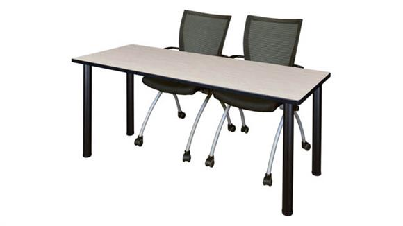 "Training Tables Regency Furniture 60"" x 24"" Training Table- Maple/ Black & 2 Apprentice Chairs- Black"