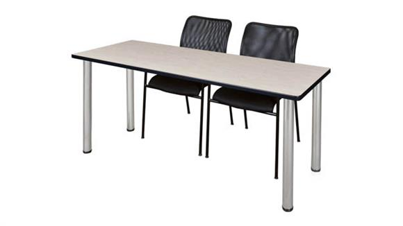 """Training Tables Regency Furniture 60"""" x 24"""" Training Table- Maple/ Chrome & 2 Mario Stack Chairs- Black"""