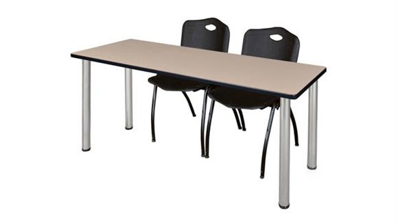 "Training Tables Regency Furniture 66"" x 24"" Training Table- Beige/ Chrome & 2"
