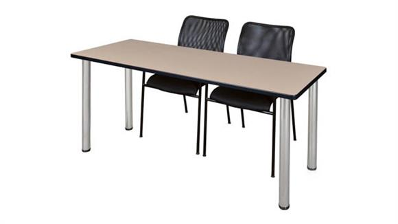 """Training Tables Regency Furniture 66"""" x 24"""" Training Table- Beige/ Chrome & 2 Mario Stack Chairs- Black"""