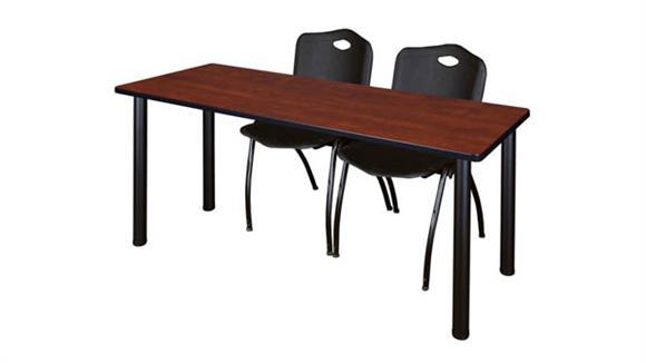 "Training Tables Regency Furniture 66"" x 24"" Training Table- Cherry/ Black & 2"