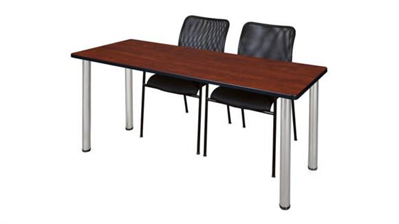 """Training Tables Regency Furniture 66"""" x 24"""" Training Table- Cherry/ Chrome & 2 Mario Stack Chairs- Black"""