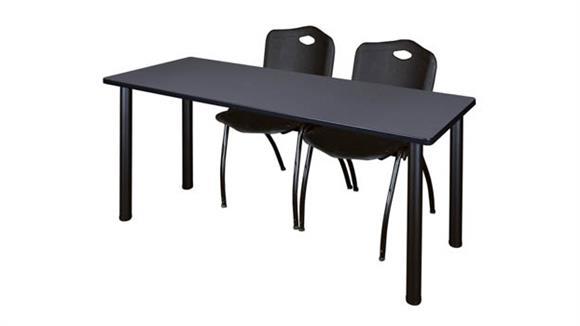 "Training Tables Regency Furniture 66"" x 24"" Training Table- Gray/ Black & 2"