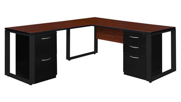 """L Shaped Desks Regency Furniture 66"""" x 30"""" Double Metal Pedestal L-Shaped Desk with 42"""" Return"""