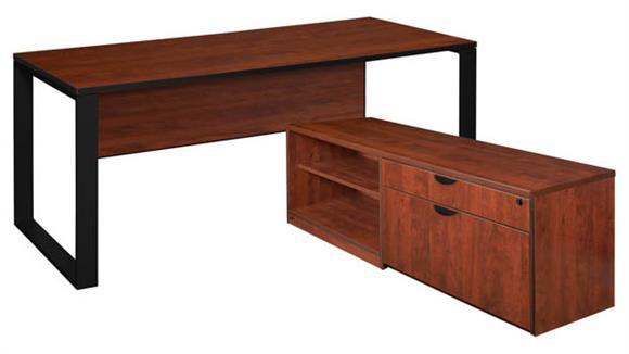 """L Shaped Desks Regency Furniture 66"""" x 30"""" L-Shaped Desk with Laminate Low Credenza"""