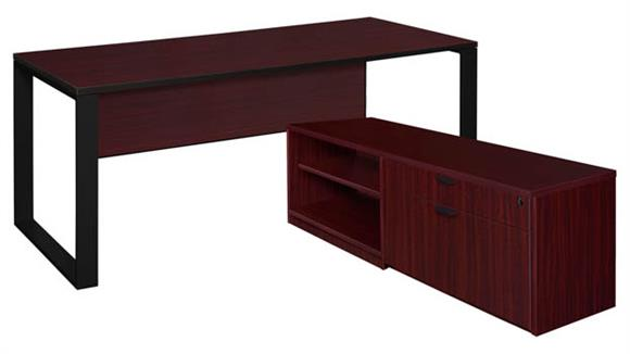 """L Shaped Desks Regency Furniture 72"""" x 30"""" L-Shaped Desk with Laminate Low Credenza"""