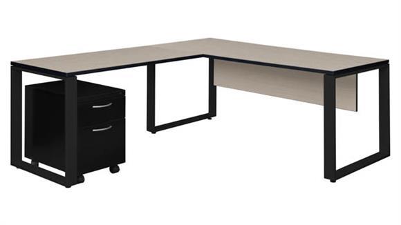 """L Shaped Desks Regency Furniture 66"""" x 30"""" Single Mobile Pedestal L-Shaped Desk with 48"""" Return"""